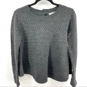 Solemio Cable Knit Weave Button Back Sweater